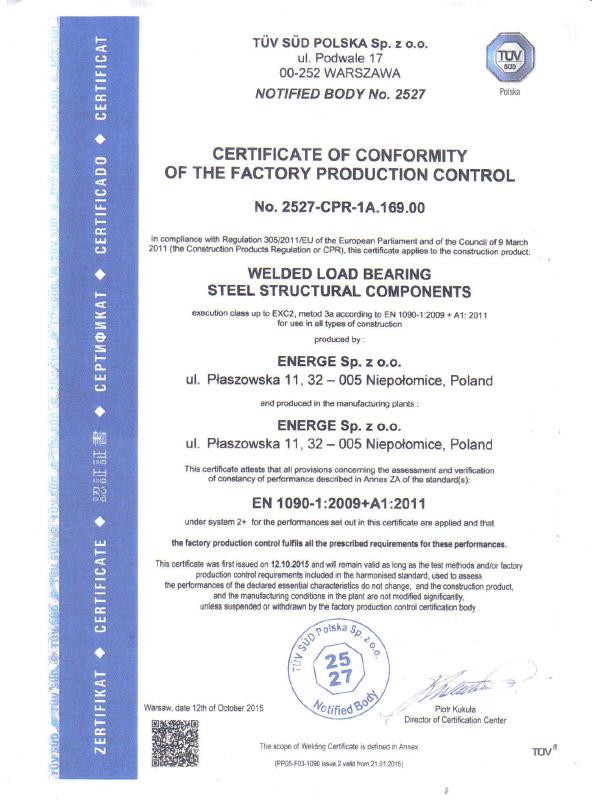 Certificate EN 1090 - English