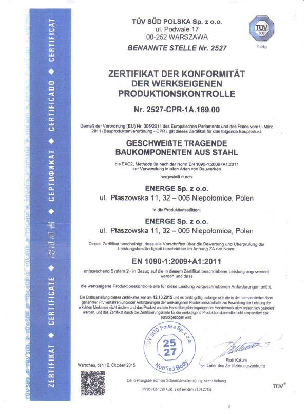 Certificate EN 1090 - German
