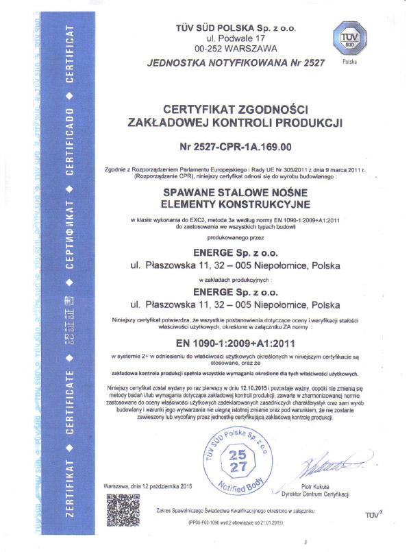 Certificate EN 1090 - Polish