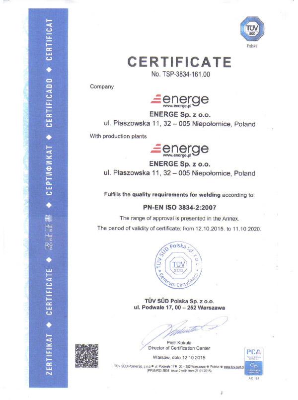 Certificate PN-EN ISO 3834 - English