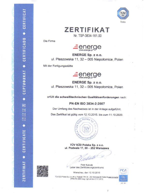 Certificate PN-EN ISO 3834 - German