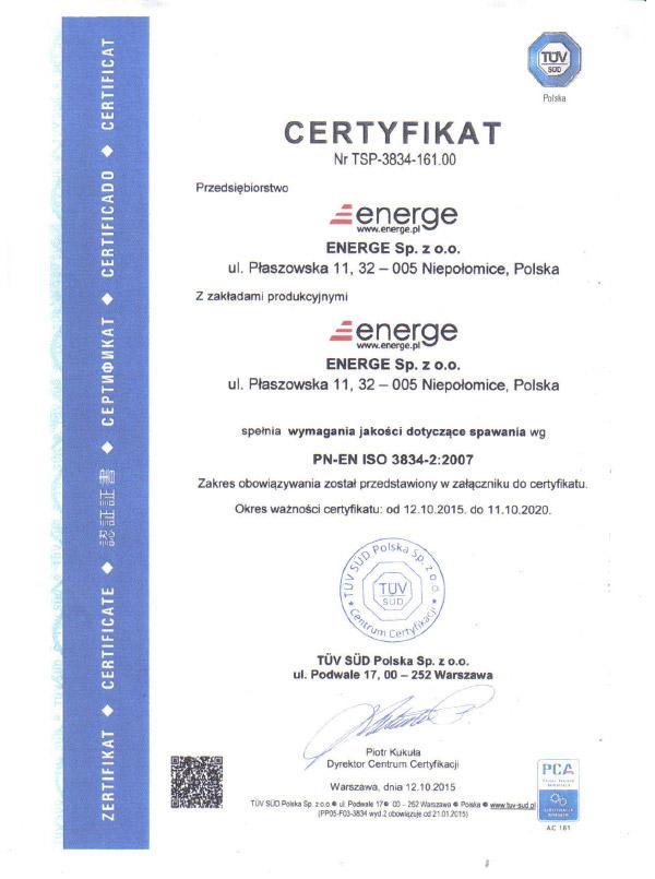 Certificate PN-EN ISO 3834 - Polish