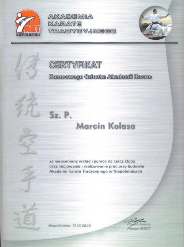 Certyfikat - Akademia Karate Tradycyjnego w Niepołomicach
