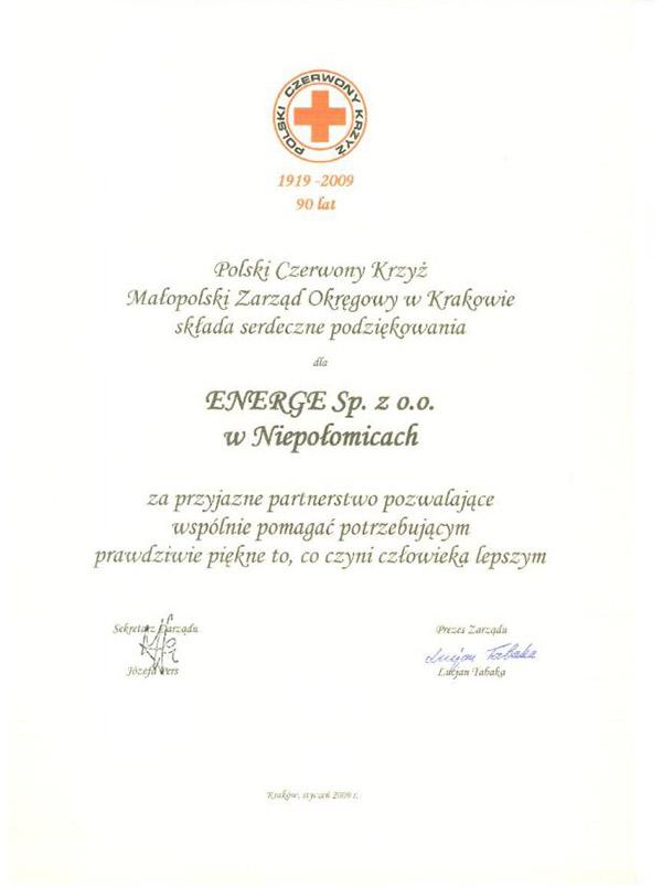 Podziękowania - Polski Czerwony Krzyż Zarząd Okręgowy w Krakowie